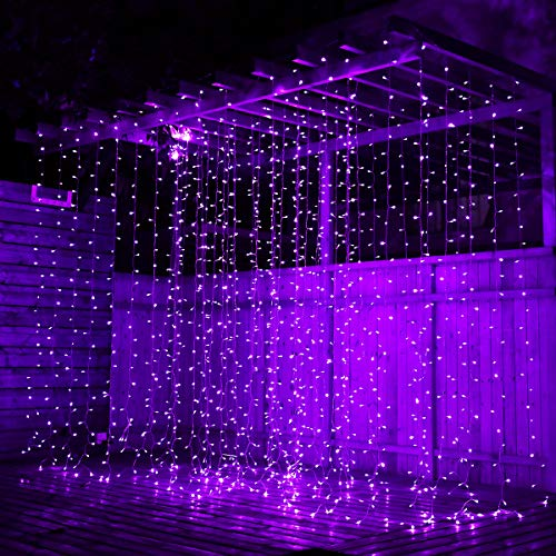 pop-belief Curtain Lights 300 LED Window Curtain String Light 6.6×9.8ft with 8 Modes for Christmas Decorations Wedding Party Home Patio Lawn Garden Bedroom Outdoor Indoor Lights (Purple