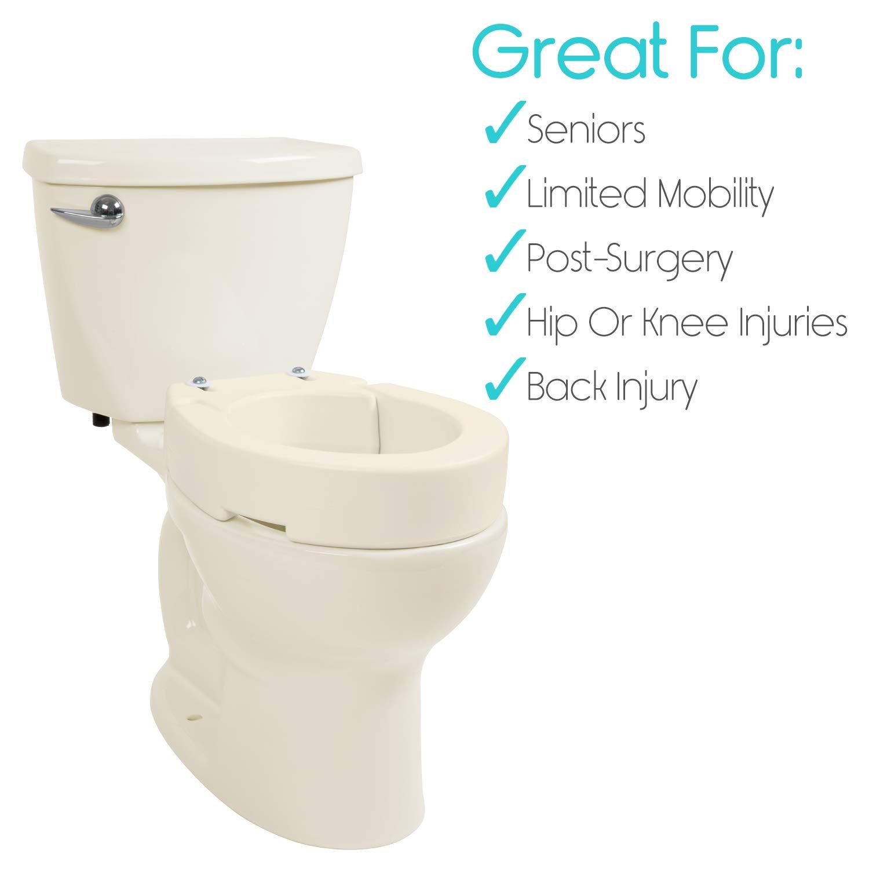 Vive Raised Toilet Seat Riser Elevated Hinged Seat