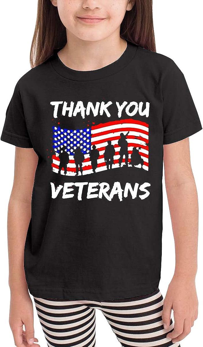 Kcloer24 Boys Girls Thank You Veterans Veterans Day Cute T-Shirt Summer Tee for 2-6 Years Old