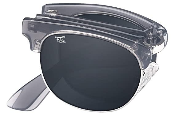 056a2c79b0cb Foldies Clear Gray Folding Browline Sunglasses with Polarized Black Lenses