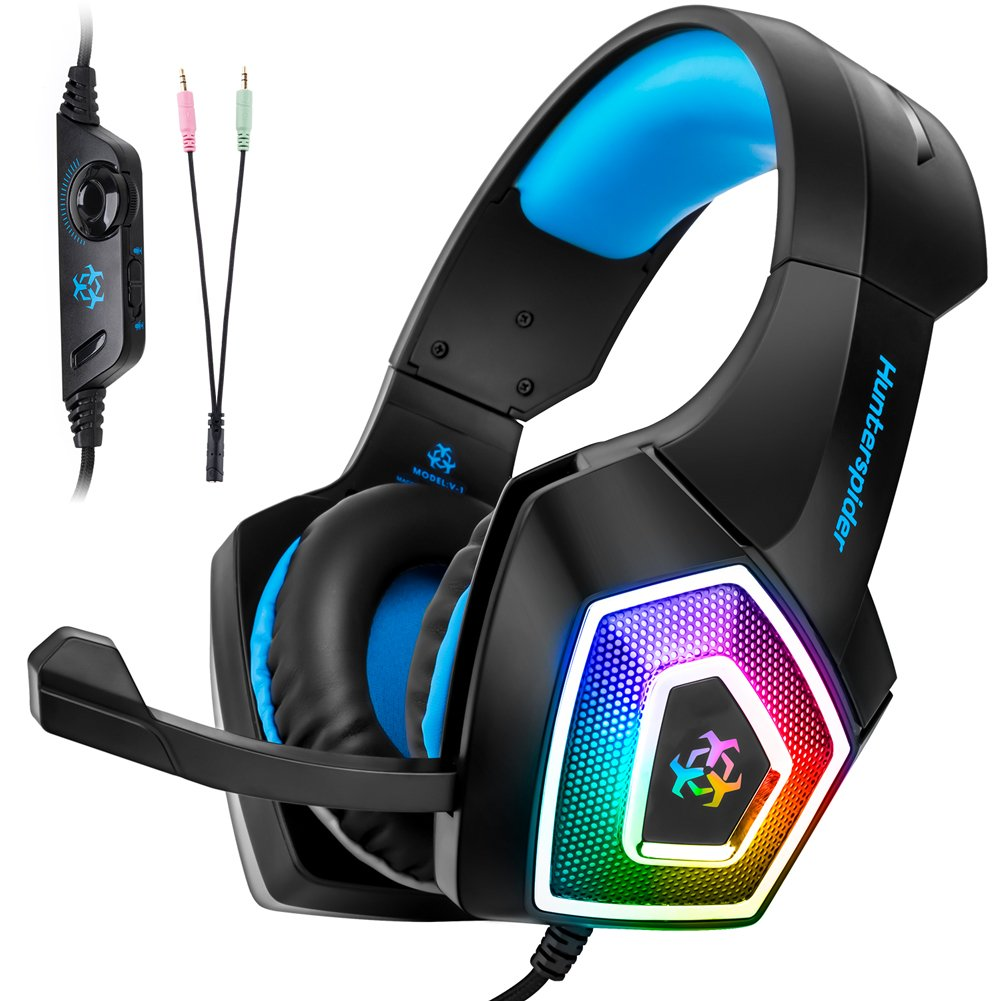 Fuleadture Gaming Headset for PS4 Xbox One, PC Gaming Headset with Mic, Noise Cancelling Over Ear Headphones with LED Light, Bass Surround, Soft Memory Earmuffs for Laptop Mac Nintendo Switch Games by Fuleadture (Image #1)