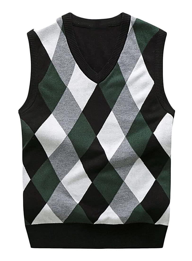 Generic Men's Fall Winter V-Neck Argyle Knit Sleeveless Sweater ...