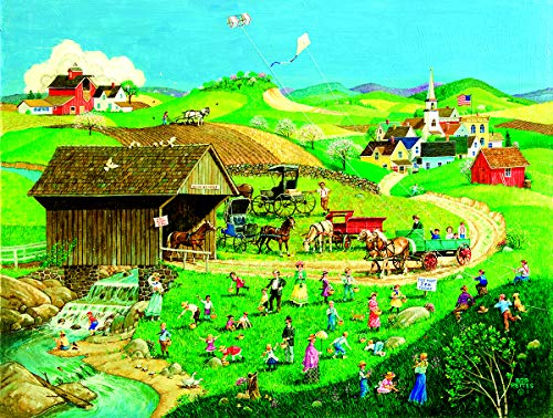 Sunsout 2019 Easter Egg Hunt by Artist Bob Pettes 500 Piece Americana & Folk Art Jigsaw Puzzle