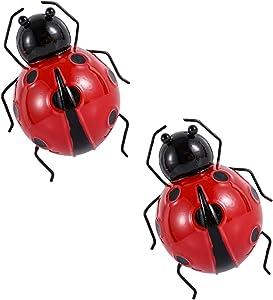 Smeetlo Metal Art Ladybugs 3D Sculptures Decorative Ladybirds Garden Wall Indoor and Outdoor Wall Hanging Set of 2 (Red)