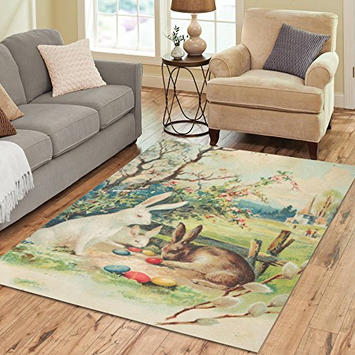 Modern Bunny (InterestPrint Hares with Easter Egg Rug Carpet 7 x 5 Feet, Happy Easter Bunny Area Rug Modern Floor Mats for Children Kids Playroom Bedroom Decor)