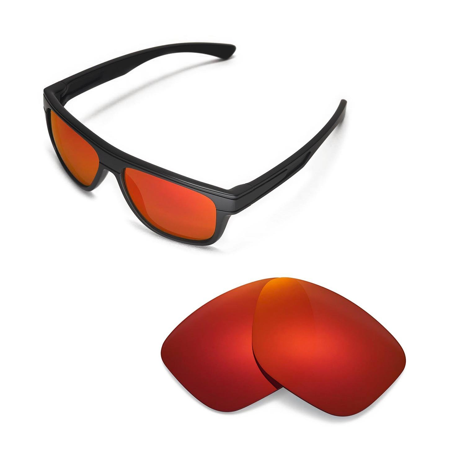 e0e5c7297f Walleva Replacement Lenses for Oakley Breadbox Sunglasses -Multiple Options  (Fire Red Mirror Coated - Polarized) at Amazon Men s Clothing store