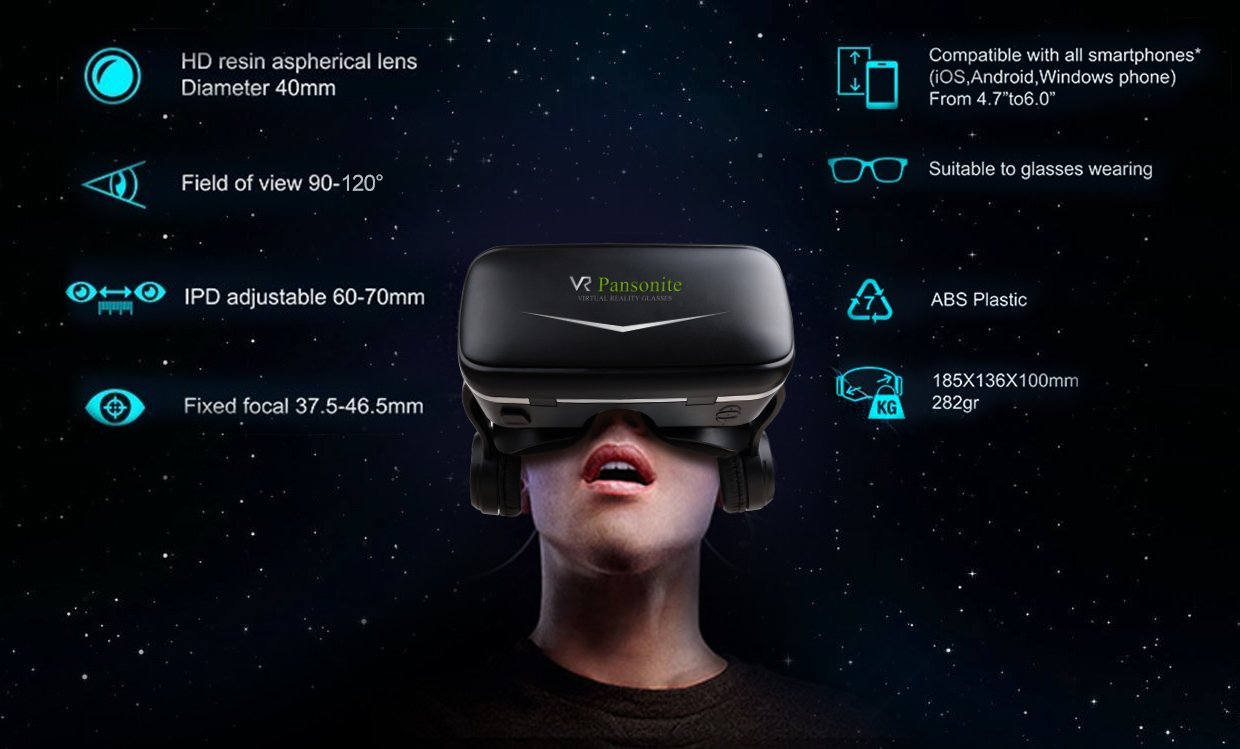 Pansonite Vr Headset with Remote Controller, 3d Glasses Virtual Reality Headset for VR Games & 3D Movies, Eye Care System for iPhone and Android Smartphones (Sb-black) by Pansonite (Image #6)