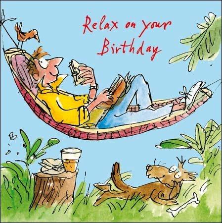 Male Birthday Card Quentin Blake Man Lying in Hammock WDM5999 – Birthday Card for a Man