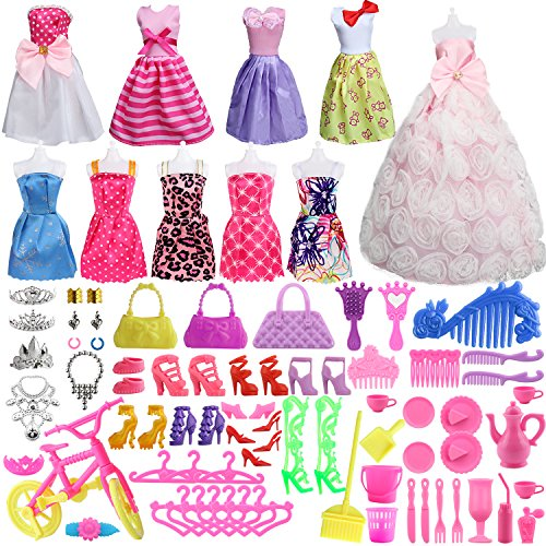 lothes Set for Barbie Dolls Include 10 Pack Clothes Party Grown Outfits and 75 Pcs Different Doll Accessories for Little Girl ()