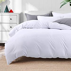 TEKAMON Luxury 3 Piece Duvet Cover Set -Ultra Soft Breathable 100% Brushed Microfiber Hotel Quality,1 Comforter Cover with Zipper Closure Matching 2 Pillow Shams, Simple Style Bedding (King, White)