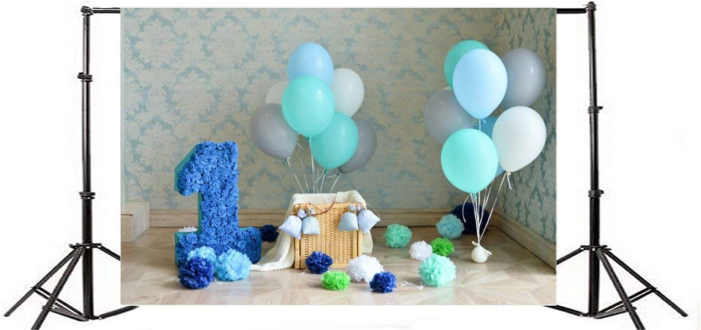 Polyester 7x5ft Photography Background Blue Pinata 1st Decorations One Year Old Birthday Infant Damask Wallpaper Multi Color Balloons Paper Flowers Theme Backdrops Portrait