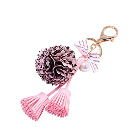 Tinksky novedad preservado Rose llavero bolso y monedero colgante encanto con borlas y piel de conejo Pom Pom regalo para cualquier ocasión