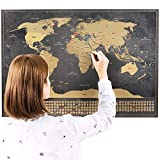 "Scratch Off World Map Poster - Scratchable Large Size Portable Framable World Map with United States Outlines + 252 Counties Flags - Unique Design by TechFaith Innovation (Black - 33"" x 23"")"