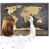 Scratch off Mapa del Mundo Cartel – scratchable Tamaño Grande Portátil framable Mapa del Mundo con Banderas de Estados Unidos Outlines + 252 Condados – diseño único por techfaith Innovación (Negro – 83.8 x 58.4 cm)