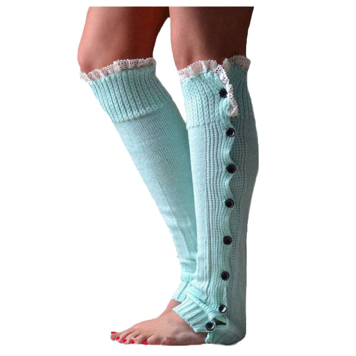 Nanxson(TM) Damen Mädchen Warm Strick Beinstulpen Stulpe Knielang Strumpf mit Spitzensaum TTW0001 TTW0001 blue