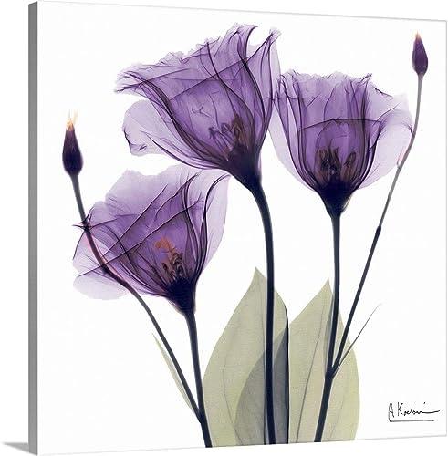 Purple Flower Trio Canvas Wall Art Print