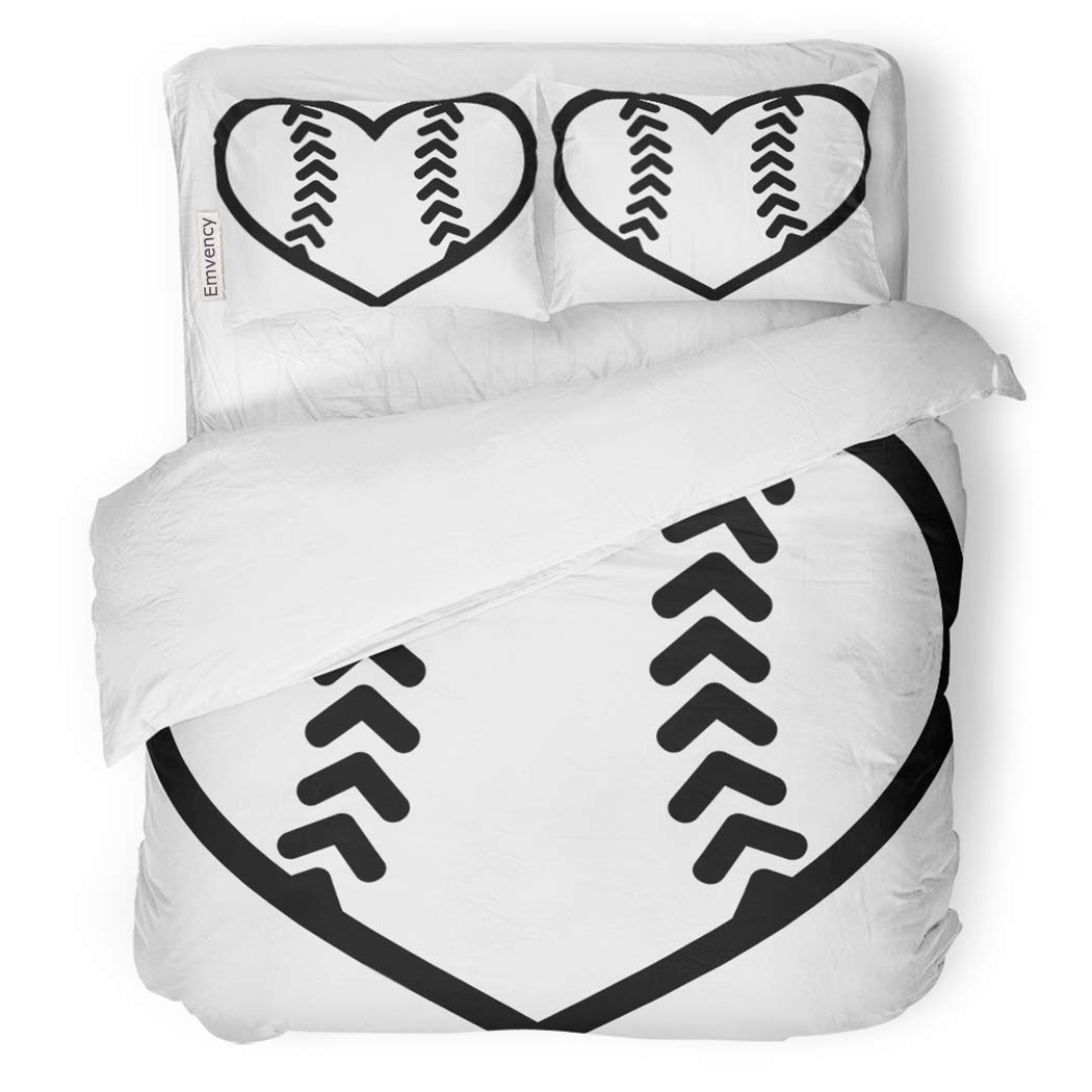 SanChic Duvet Cover Set Baseball Softball Ball Heart Base Equipment Female Game Decorative Bedding Set with 2 Pillow Shams Full/Queen Size