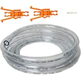"""SiphonPro 15' Clear Made in The USA PVC Hose Tubing- 3/8""""ID ½""""OD - Includes Hose Connector and Hose Retainer Clip"""
