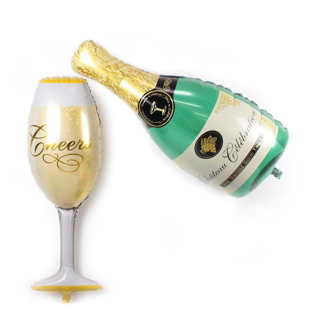 Motiv: Champagner und Glas Sunshey 2 Heliumballons aus Aluminiumfolie perfekt f/ür Hochzeiten
