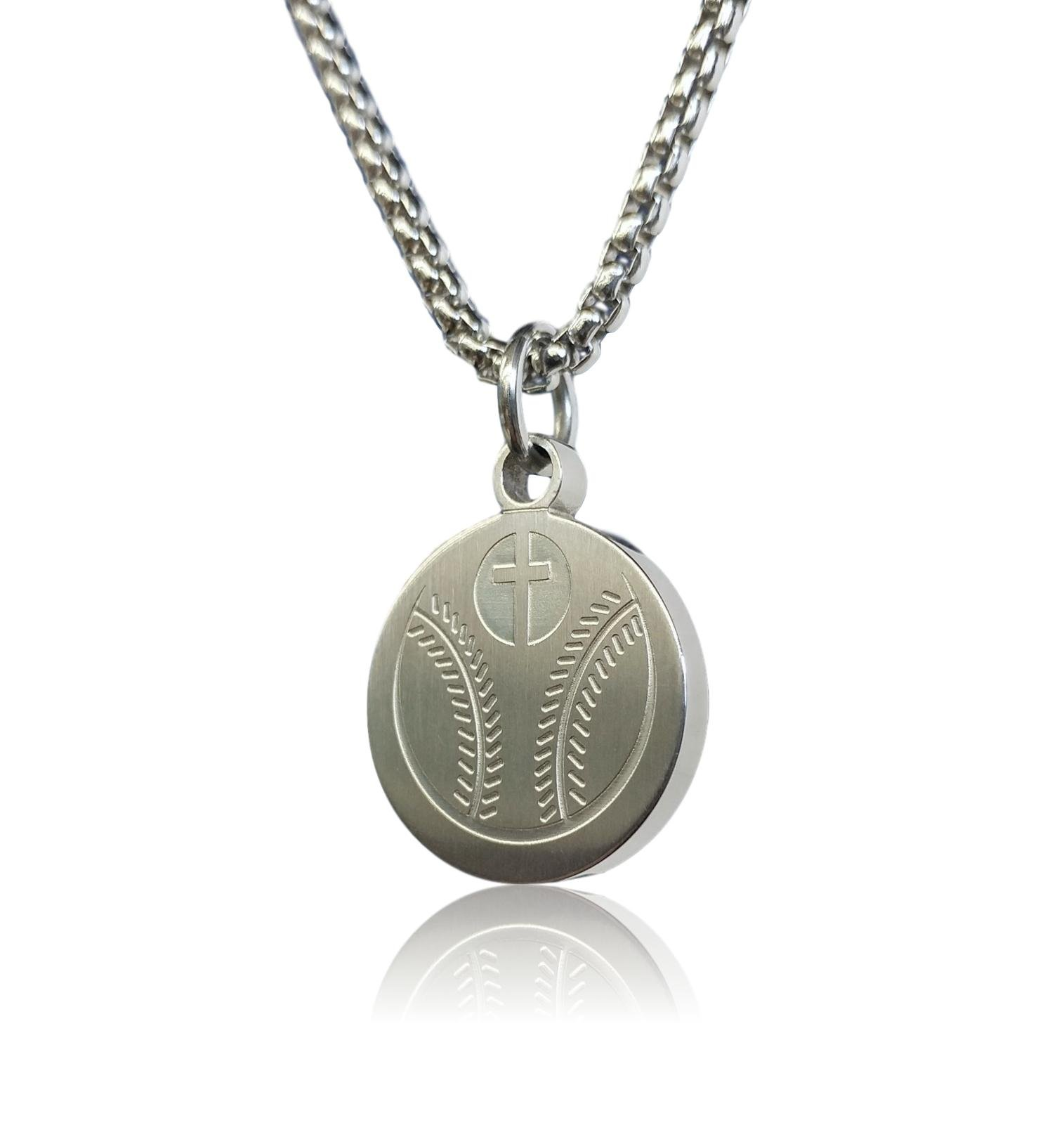 Pendant Sports Baseball Prayer Necklace Crafted in Stainless Steel with Luke 1:37 on The Back, and Nicely Presented in a Black Velvet Jewelry Box.