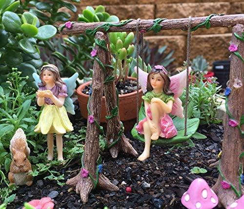 Pretmanns - Kit de accesorios para jardín de hadas en miniatura, juego de figuras de jardín de hadas y columpios: Amazon.es: Jardín