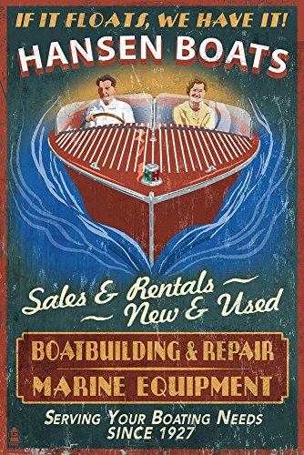 (Wooden Boats - Vintage Sign (12x18 Fine Art Print, Home Wall Decor Artwork Poster))
