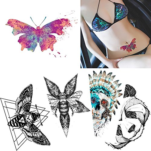 Hot 5 Sheets Colored Drawing Body Tattoo Temporary Butterfly Skull Sticker Water Transfer Art supplier
