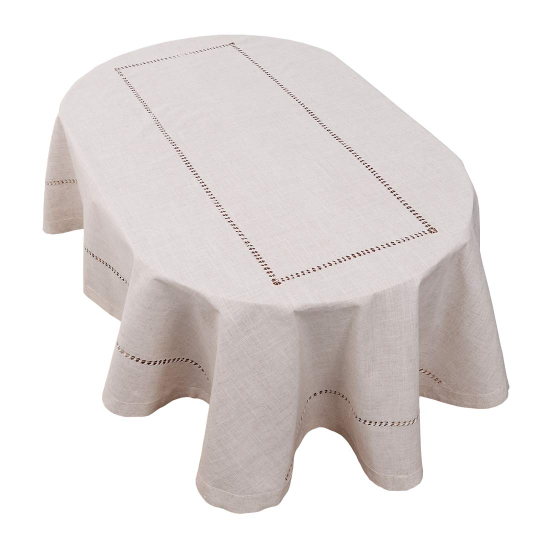 Grelucgo Handmade Double Hemstitch Natural Tablecloth, Oval 60 by 84 Inch by Grelucgo