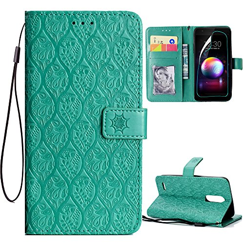 Price comparison product image ARSUE LG G7 Case, LG G7 ThinQ Case with HD Screen Protector, PU Leather Wallet Flip Case with Credit Card Slot Holder and Kickstand Mandala Floral Flower Phone Protective for LG G7 ThinQ (2018), Mint