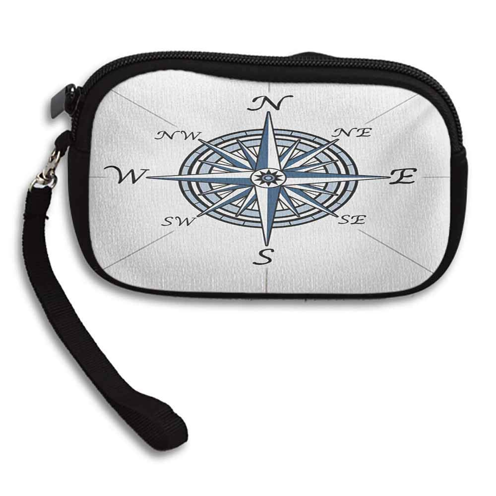 Compass Coin Purse Pouch Sea Color Themed Voyage Windrose Discovery Marine Design Work of Art W 5.9x L 3.7 Holder Zip Mini Wallet