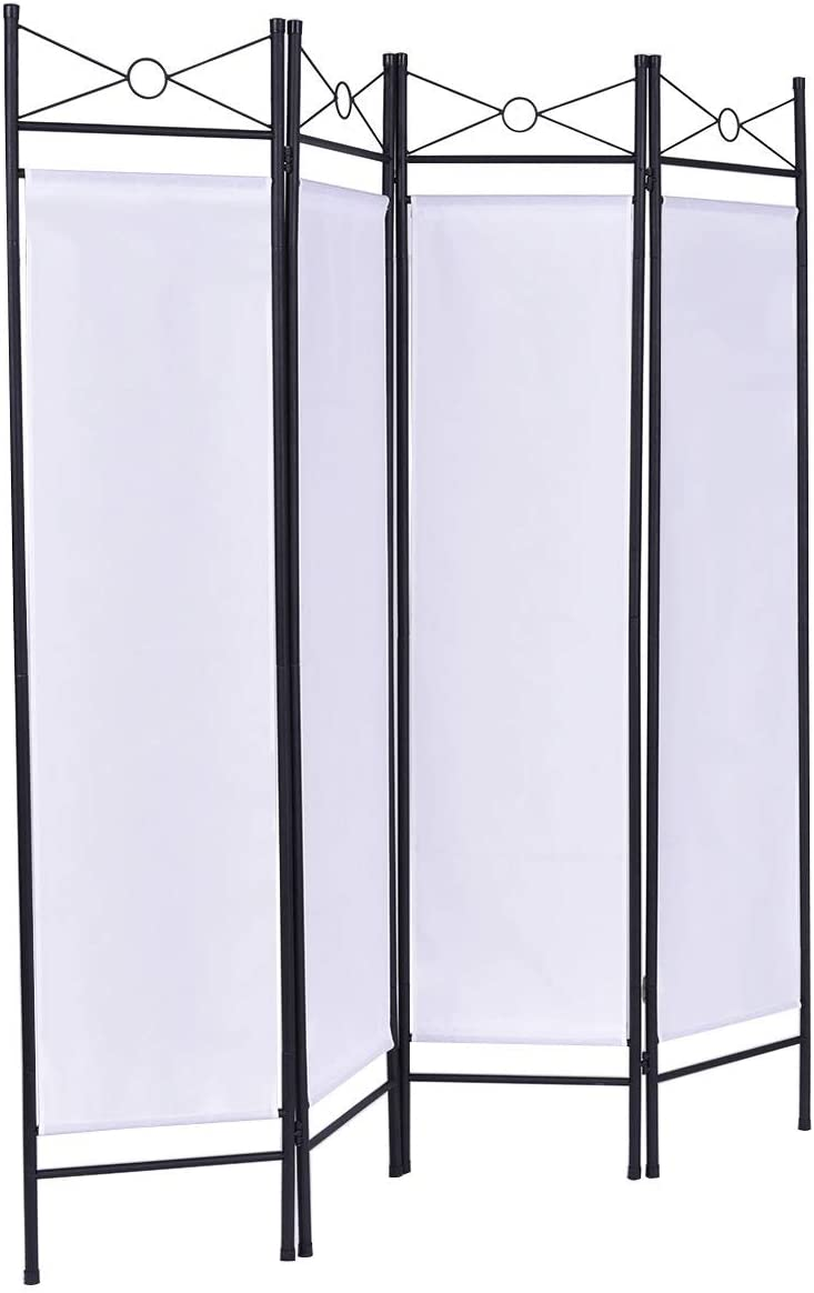HAPPYGRILL Room Divider 4 Panel Folding Freestanding Privacy Screen