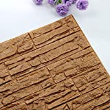 Spbamboo 3060cm 3D Brick PE Foam Wallpaper Panels Room Decal Stone Decoration Embossed Self-Adhesive Brick Wall Sticker for Living Room Bedroom Background Wall Decoration