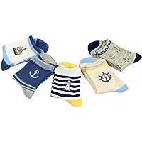 CHIC-CHIC 5 Paires Chaussettes Enfants Garçon Coton Sport Motif Rayures Voiture 3-8ans
