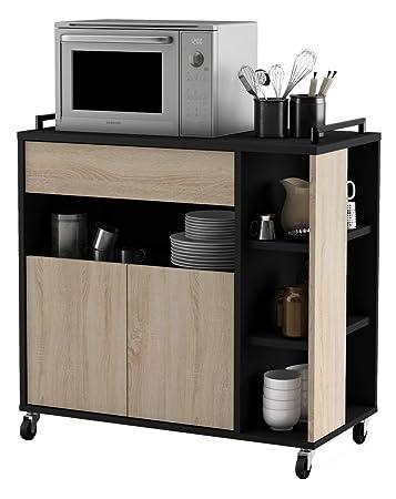 habeig Küchenwagen Eiche mit Schwarz #283 Küchentrolley Schublade ...