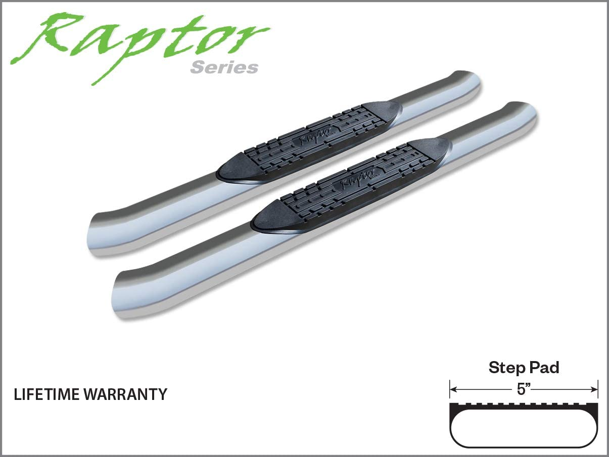 Raptor Series 1501-0020M 4 inch Curved OE Style Stainless Side Bar Steps For 00-18 Silverado// Sierra 1500//2500//3500 Crew Cab