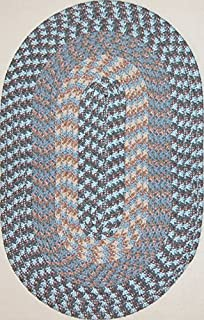 "product image for Hometown 7'4"" x 9'4"" (88"" x 112"") Oval Braided Rug in China Blue"