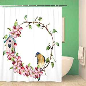 rouihot 66x72 Inches Shower Curtain Watercolor Wreath with Tree Branches Apple Blossom Bird and Birdhouse Hand Painted Waterproof Polyester Fabric Bath Bathroom Curtain Set with Hooks