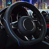 "Flat Bottom Steering Wheel Cover - Genuine Leather D Cut Shaped Steering Wheel Cover Wrap 14.5"" - 15"" 106D Blue"