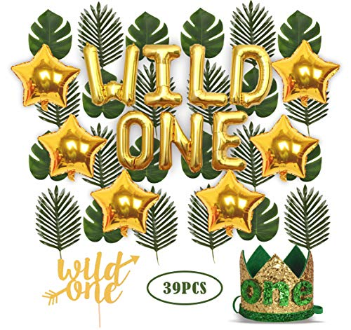 Wild One Birthday Decorations | 1st Baby Girl/Boy Birthday Party Hat Green Crown with Green Hair Band | 24 PCS Artificial Palm Leaves | 16