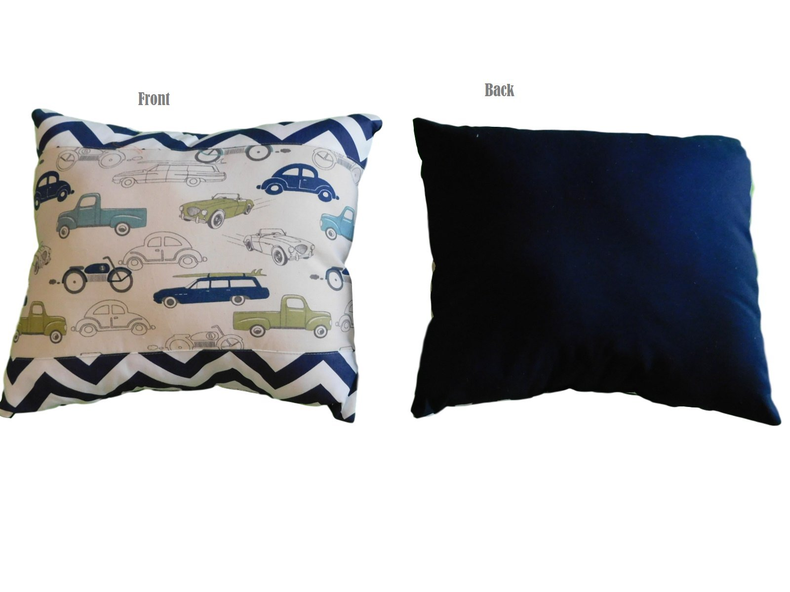 Cars and blue chevron PILLOW Size 16''x 18'', throw pillow, neck or travel , bed , sofa, dorm , chair decor. Hypoallergenic ,boys, washable. Ready to use. Sale.