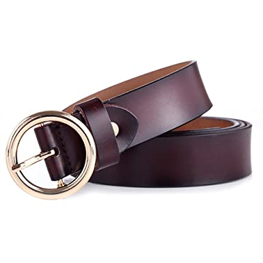 509da0b62b15 GAXmi Belts Women Leather Brown Ladies Belt for Jeans Dress with Round  Buckle  Amazon.co.uk  Clothing