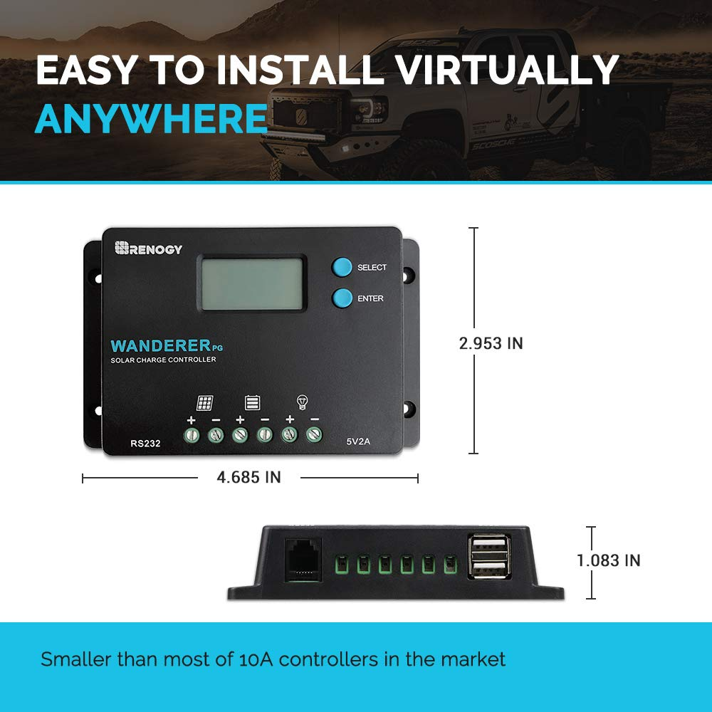 Renogy Wanderer 10 Amp 12V/24V PWM Common Postive Solar Charge Controller Regulator Compatible with Deep Cycle Sealed AGM Gel, Flooded Batteries, and and Bluetooth Module by Renogy (Image #2)