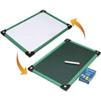 SNDIA 2 in 1 Double Sided Whiteboard and Slate with Chalk for Kids ( 35 X 24 cm) (Slate with Chalk Board) (1 Pack)