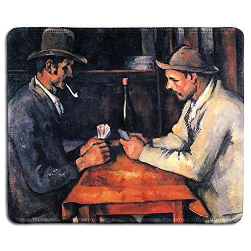 dealzEpic - Art Mousepad - Natural Rubber Mouse Pad with Famous Fine Art Painting of The Card Players 1892 by Paul Cezanne - Stitched Edges - 9.5x7.9 inches