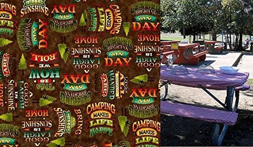 (Custom Order for Mike Stay Put Fitted Happy Camper Tablecloth for an 8 Ft Camp or Picnic Table. 3 Piece set. Table and 2 bench set. Happy Camper Table Cover Print Fabric.)