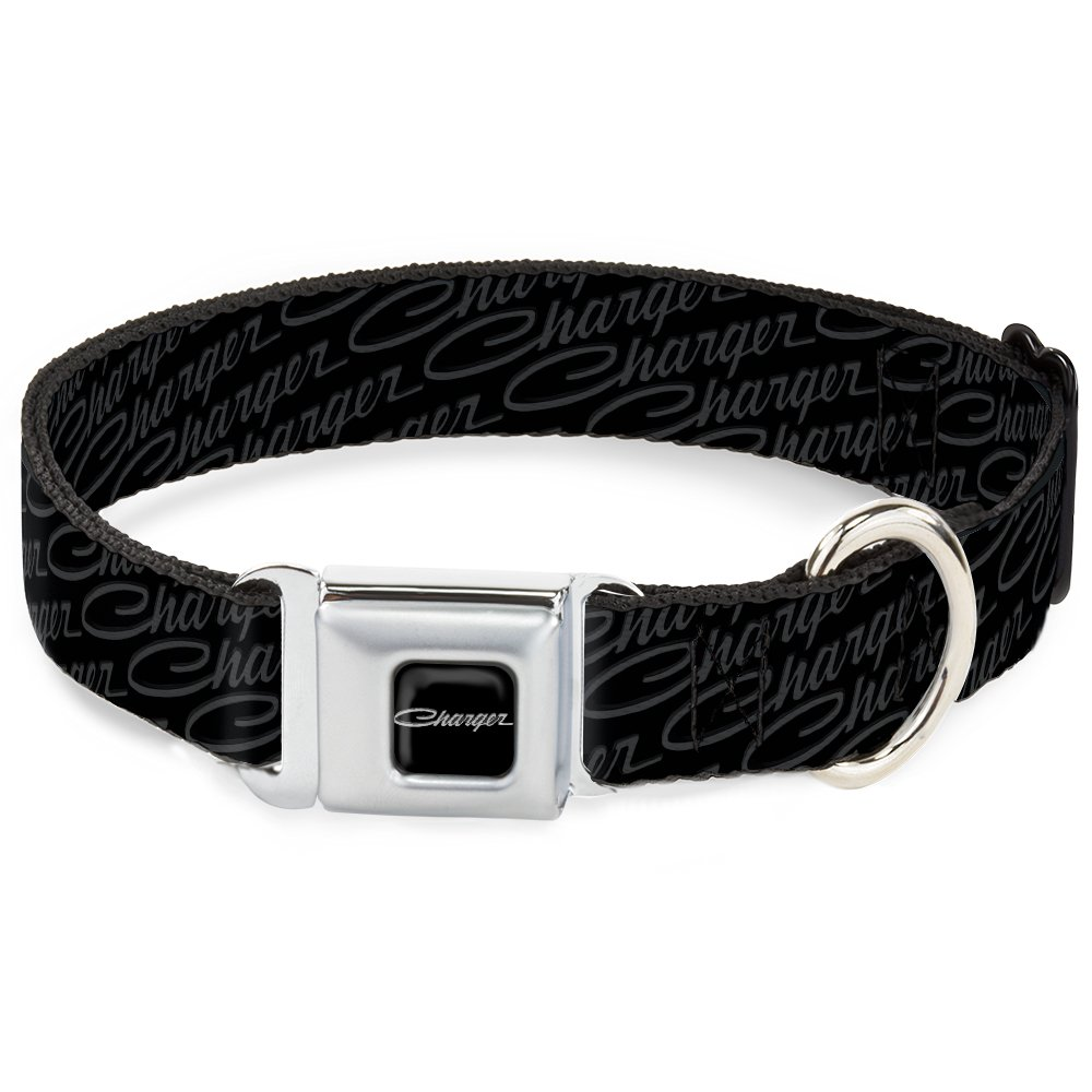 Buckle-Down 13-18  CGE-Charger Script Emblem Corner Full color Black Silver Fade White  Dog Collar, Wide Small