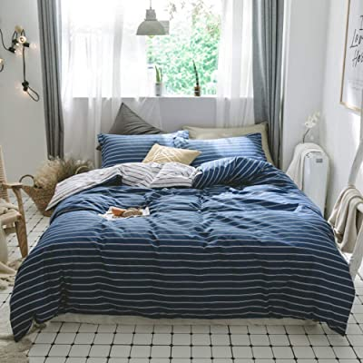 AMWAN Modern Striped Twin Duvet Cover Set Cotton Hotel Bedding Set Blue White Stripe Comforter Cover Set for Teens Men Boys Reversible Geometric Bedding Set 1 Duvet Cover with 2 Pillowcases: Home & Kitchen [5Bkhe1003623]