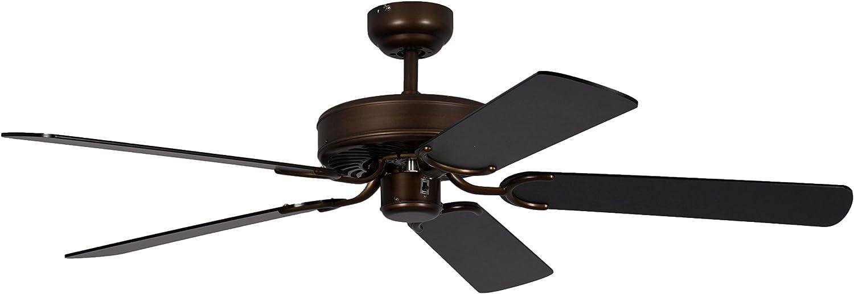Pepeo Potkuri ventilador de techo sin luz, carcasa de bronce viejo, aspas reversibles negro, 132 cm, para habitaciones de hasta 25 m²