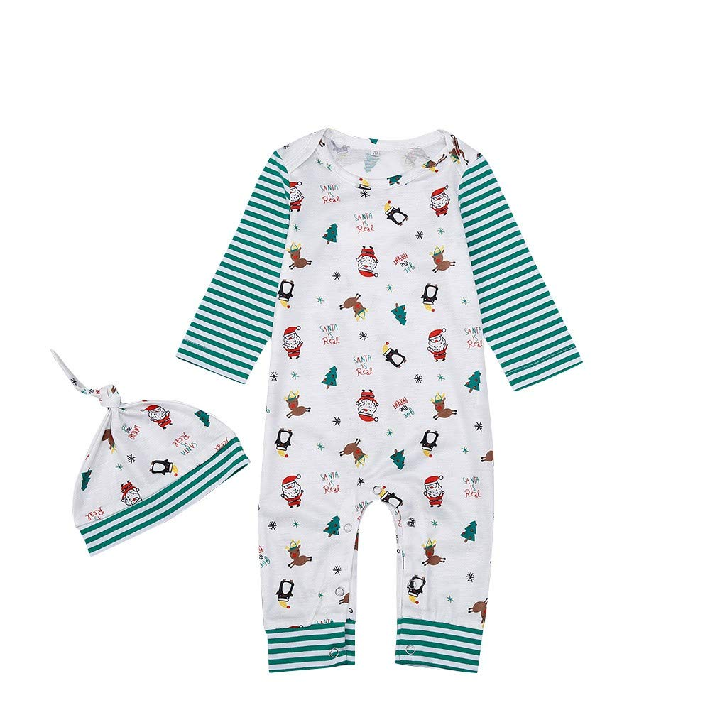 Zerototens Christmas Baby Boys Clothes, 0-24 Months Newborn Infant Boys Christmas Cartoon Santa Print Romper Jumpsuit+Hat Set 2Pcs Boys Pajama Outfits Set