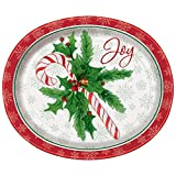 Candy Cane Christmas Oval Paper Plates, 8ct